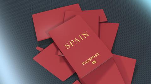 Artist rendering Spain travel passport Animation