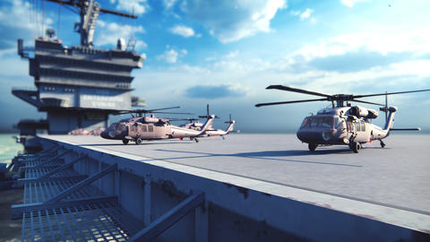 Military helicopters Blackhawk take off from an aircraft carrier at clear day in the endless blue Animation