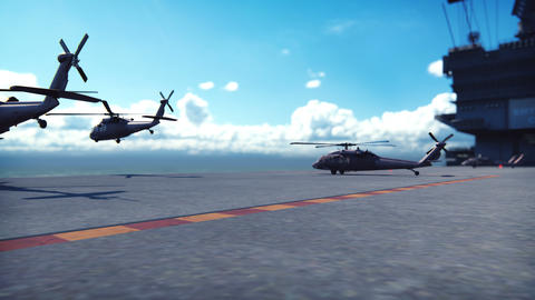 Military helicopters Blackhawk take off from an aircraft carrier at clear day in the endless ocean Videos animados