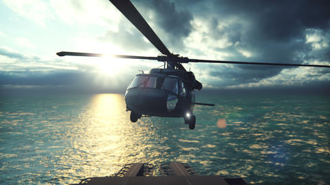 Military helicopter Blackhawk lands on an aircraft carrier on a clear day in the endless blue ocean Animation