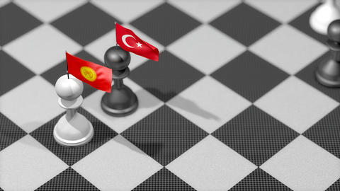 Chess Pawn with country flag, Kyrgyzstan, Turkey Animation