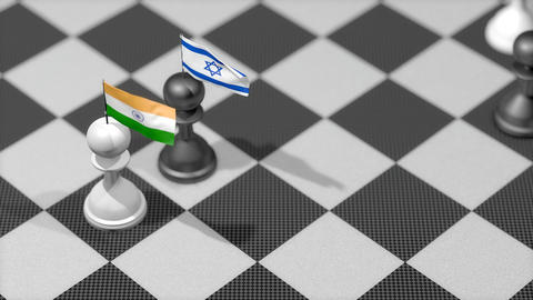 Chess Pawn with country flag, India, Israel Animation