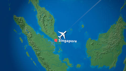 Air travel flying route destination, Singapore, Japan Animation