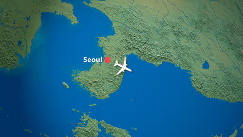 Air travel flying route destination, Korea, United States Animation