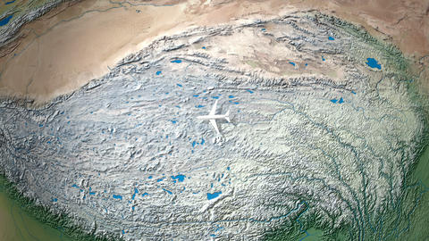 Air travel flying route destination, Japan, France Animation