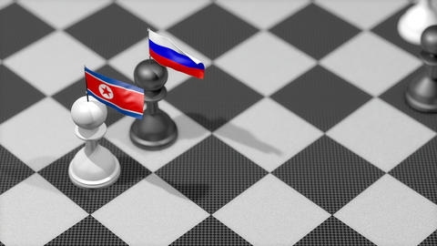 Chess Pawn with country flag, North Korea, Russia Animation