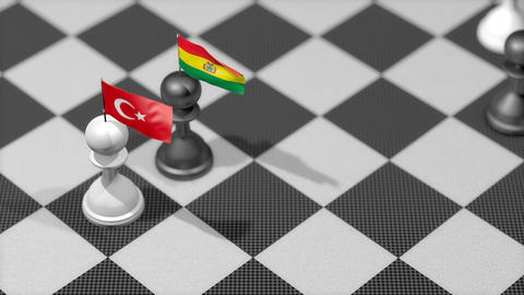 Chess Pawn with country flag, Turkey, Bolivia Animation