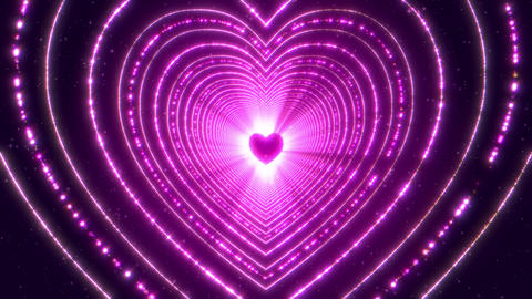 Neon light heart shape 00521 CG動画