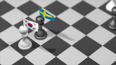 Chess Pawn with country flag, South Korea, Sweden Animation
