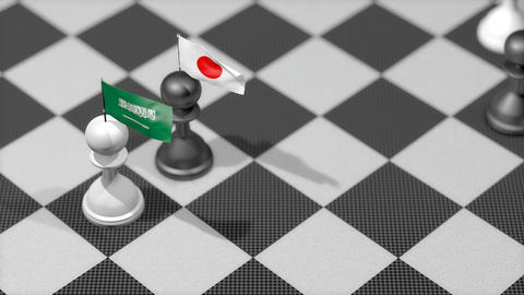 Chess Pawn with country flag, Saudi Arabia, Japan Animation