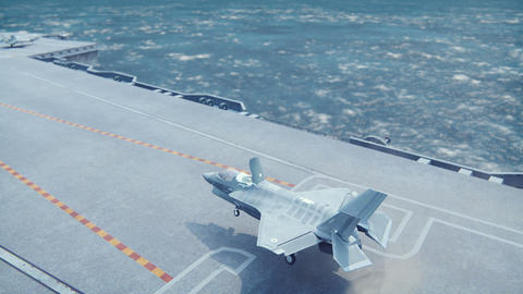 F-35 fighter takes off vertically from the aircraft carrier in clear day Animation