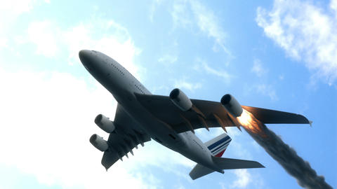 The engine of the aircraft caught fire and burns with the release of black smoke. Cinematic 3D Animation
