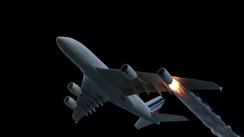 The engine of the aircraft caught fire and burns with the release of black smoke. Contains the alpha Animation