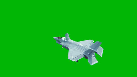 F-35 fighter takes off vertically from the aircraft carrier in clear day in front of a green screen Animation