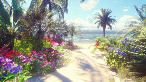 A beautiful landscape with a fabulous beach with beautiful flowers and trees growing on it, blue sky Animation
