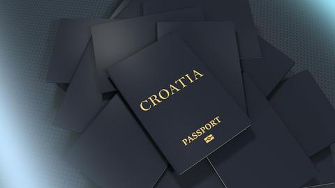 Artist rendering Croatia travel passport Animation