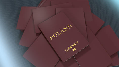 Artist rendering Poland travel passport Animation