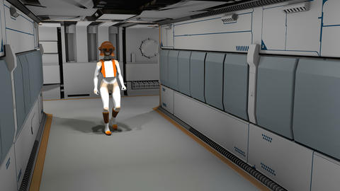 Space cyborg trooper walking in sci-fi corridor Animation