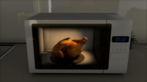 Tasty roasted chicken in microwave Animation