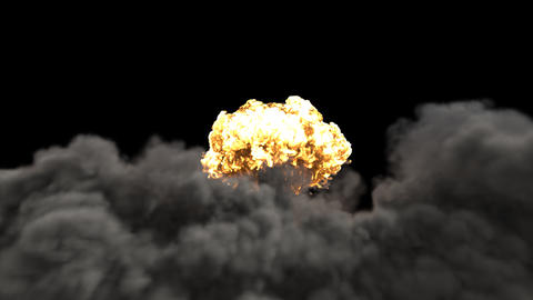 The explosion of a nuclear bomb. Realistic 3D VFX animation of atomic bomb explosion with fire, Animation