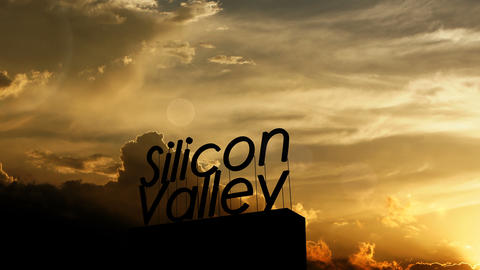 Silicon Valley signpost over beautiful sunset Animation