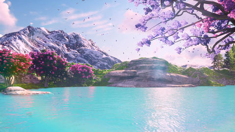Sakura blooming in spring against the backdrop of mountains and lakes. Travel and adventure, amazing Animation