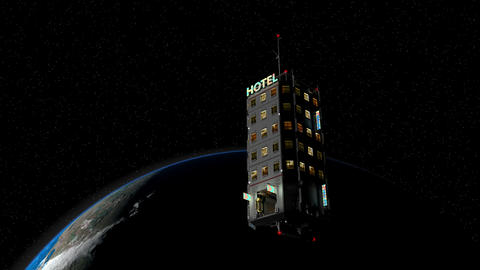 Artist rendering fiction space hotel technology Animation