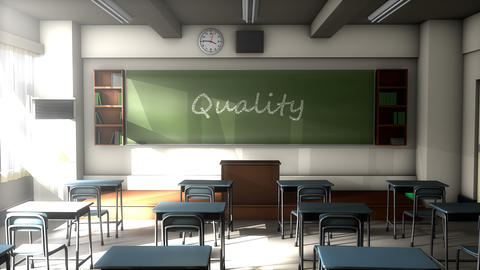 Classroom black board text, Quality education Animation