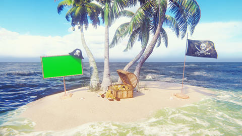 Sand, sea, sky, clouds, palm trees, sharks and summer day. Pirate island, a chest of gold, a wooden Animation
