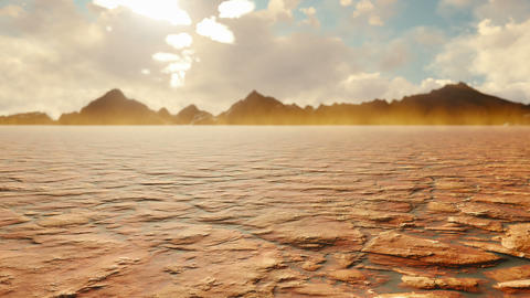 Apocalyptic desert. Post-Apocalypse, global warming, climate change, hot dusty desert. Looped Animation