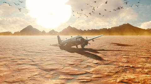 The crashed plane is in the desert. Apocalyptic view of the hot desert Animation