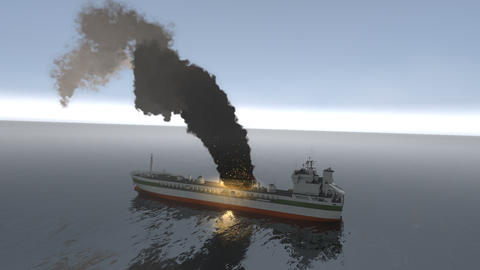 Artist rendering sea tanker ship on fire Animation