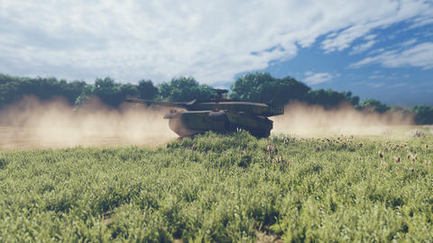 Military tank on a Sunny day, standing on the dusty field Animation