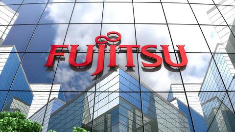 Editorial, Fujitsu logo on glass building Animation