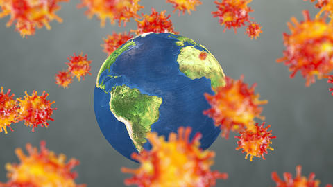 Earth surrounded with virus cells, concept animation Animation