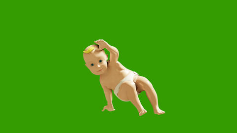A small child dancing against a green screen. 3D rendering animation of small dancing children Animation