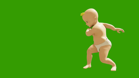 A small child dancing against a green screen. 3D rendering animation of small dancing children. Animation