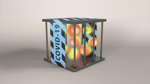 Containing virus outbreaks. virus cell in a cage Animation