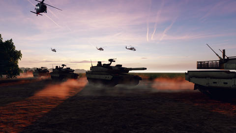 Military tanks and military helicopters move at sunset on the battlefield Animation