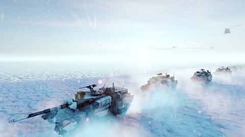 Military tanks and military helicopters move on a clear winter day on the battlefield Animation