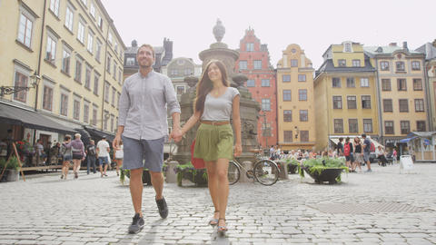 Couple walking in city of Stockholm Sweden Europe Live Action