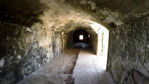 Hallway in the fortress of La Mola. Historic defensive structure on the island Live Action