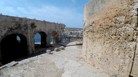 Exteriors in La Mola fortress. Views of the Mediterranean Sea through the walls Live Action