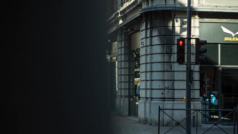 Traffic light in the historic center of Padua in Italy Live Action