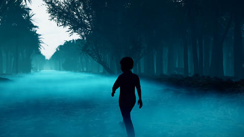 A little boy got lost in a dark scary mystical misty forest. A fairy forest with tall trees in a Animation