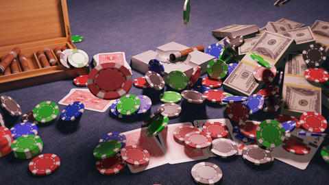 The fall of casino chips on the poker table in the casino. A gentleman's set, a Smoking cigar, Animation