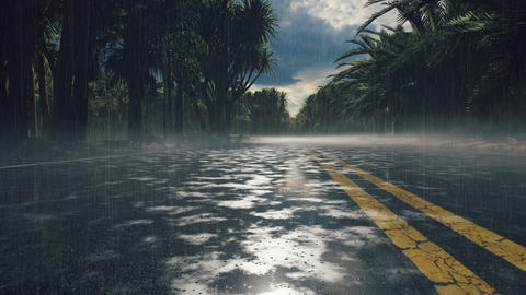 Drops of water fall into a puddle on the pavement. Wet asphalt in the rain, rainy highway with Animation