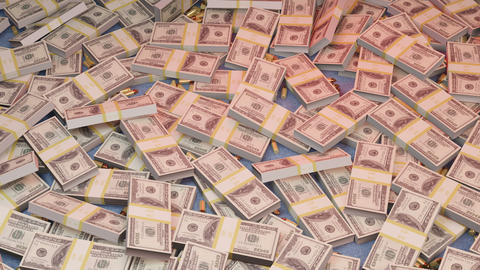 A lot of dollar bills in one pile along with gangster mafia bullets. Mafia wealth and a deadly Animation