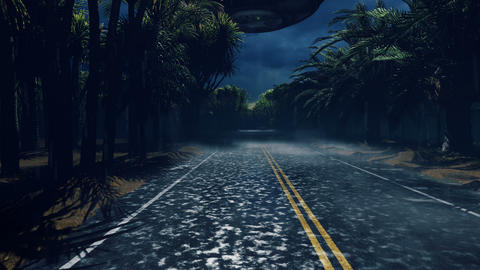 A crowd of people is on the call of aliens. People walk on the wet highway over which flies an alien Animation