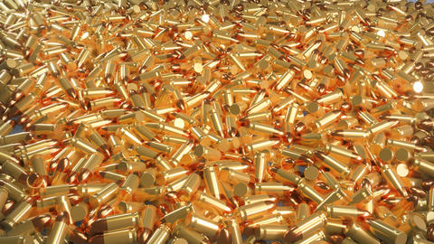 Seamless 4K loop animation of a pile of bullets lying in a mess Animation